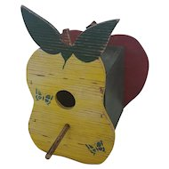Vintage Primitive Folk Art Pear & Apple Design Birdhouse