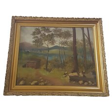 Antique Signed & Dated 1906 Landscape Oil Painting