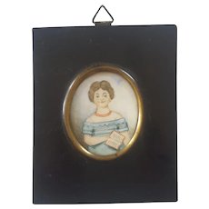 Antique Miniature Folk Art Portrait of Young Girl Holding Book