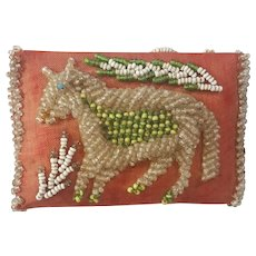 Antique Dated 1911 Iroquois Beaded Horse Design Sewing Kit with Pin Cushion