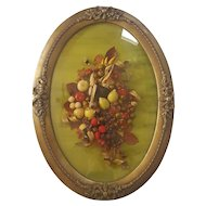 Vintage Dried Arrangement with Bee in Oval Beveled Glass Frame