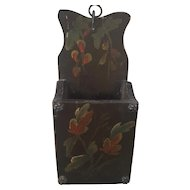 Vintage Folk Art Painted Floral Design Wall Box