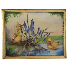 Adorable Signed & Dated 1950 Oil Painting of 2 Ducklings