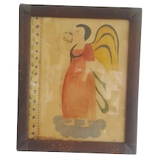 Folk Art Angel Fraktur in Antique Frame