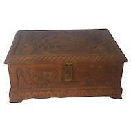 Dtd. 1929 Utah Folk Art Bonneville Dairy Farm Carved Wooden Box