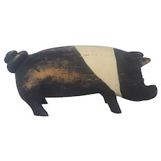 Vintage Folk Art Hampshire Pig Carving
