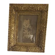 Late 19th Early 20th C. Folk Art Drawing of Tabby Cat in Old Frame