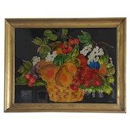 Vintage Folk Art Reverse Painted Tinsel Painting of Fruit Basket
