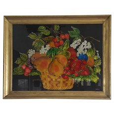 Vintage Folk Art Reverse Painted Tinsel Painting of Fruit Basket