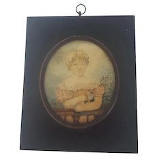 Early 19th Century Folk Art Miniature Watercolor Portrait of Girl Holding Rose