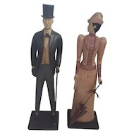 Vintage Folk Art Carved Man & Woman in Edwardian Garb