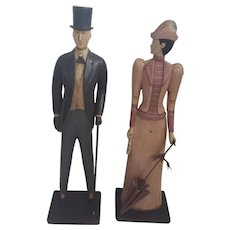 Vintage Folk Art Carved Man & Woman in Edwardian Garb