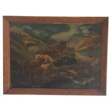 Vintage 1930's Folk Art Oil Painting of Cattle in Mountain Setting