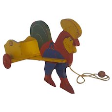 Vintage 1950's Folk Art Rooster Cart Pull Toy