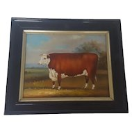 Vintage Folk Art Painting of Brown and White Cow