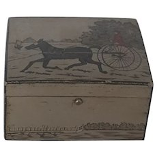 Tiny Vintage Folk Art Painted Trinket Box With Sulky Horse & Driver