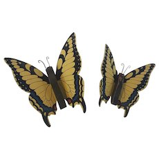 Pr. Vintage Metal & Wood Tiger Swallowtail Butterflies Wall Decor