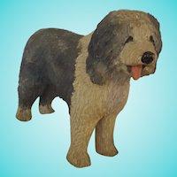 """Large 10 1/2"""" x 8"""" Vintage Folk Art Carved & Painted Sheepdog Figure"""