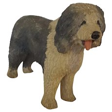 "Large 10 1/2"" x 8"" Vintage Folk Art Carved & Painted Sheepdog Figure"