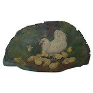 Vintage 1920's PA. Folk Art Painting of Hen & Chicks on Large Tree Fungus