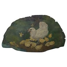 Vintage 1920's PA. Folk Art Painting of Hen & Chicks on Large Tree Fungus