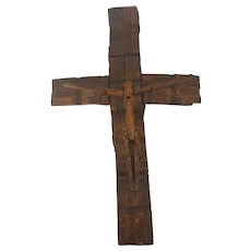 Vintage Primitive PA. Folk Tramp Art Crucifix Made from Clothespins