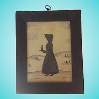 Antique PA. Folk Art Cut Silhouette of Girl Carrying Tray & Bottle