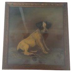 """Vintage 1920's Folk Art Pastel Portrait of Jack Russell Terrier Dog Named """"Pal"""""""