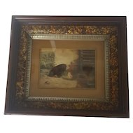 Antique Victorian Folk Art Watercolor of Black Puppy & Baby Chick