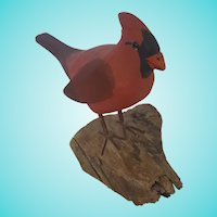 Vintage Signed & Dated 1982 Folk Art Cardinal Bird Carving