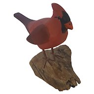 Vintage Signed & Dated 1982 Folk Art Cardinal Bird Carving