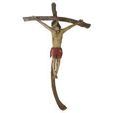 "Large 25"" Vintage Folk Art Hand Carved & Painted Crucifix"