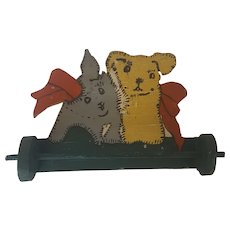 Small Vintage Naive Folk Art Towel or Tie Bar with Kitten & Puppy