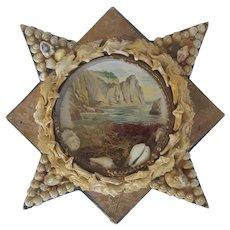 Early 1900's Folk Maritime Art Shell Covered Star with Coastal Scene