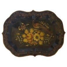 Beautiful Vintage Signed Folk Art Painted Tray w/Bird of Paradise & Flowers