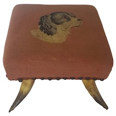 Vintage Folk Art Needlepoint Footstool With Spaniel Dog & Cow Horn Legs