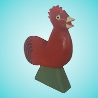 Vintage Naive Signed & Dated 1968 Folk Art Rooster Carving