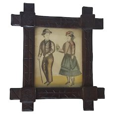 Antique Naive Folk Art Watercolor of Victorian Couple in Handmade Frame