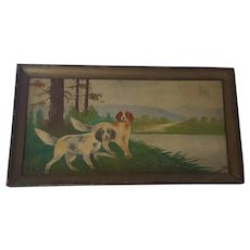 Early 1900's Signed Naive Folk Art Painting of Hunting Spaniel Dogs From My Collection