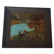 Antique 19th C. Naive Folk Art Reverse Painting of Deer in Folk Painted Frame