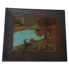 Antique 19th C. Naive Folk Art Reverse Painting of Deer in Folk Painted Frame