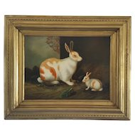 """Vintage MId 20th C. Signed """"Borofsky"""" Painting of Mama Rabbit & Baby"""