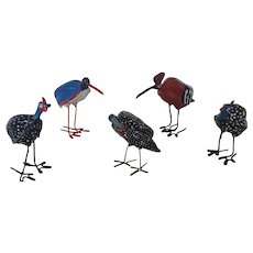 Group of 5 Funky Vintage Handmade Folk Outsider Art Painted Birds