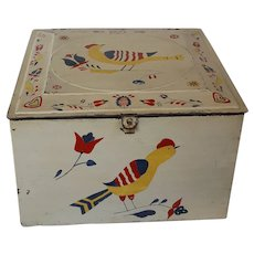 Vintage Painted Tin Breadbox with PA. Dutch Decoration