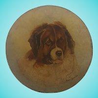 Antique Folk Art Oil Portrait of St. Bernard on Papier Mache Plate