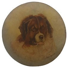 Antique Folk Art Oil Portrait of St. Bernard on Papier Mache Plate