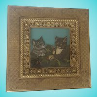 Vintage Naive Folk Art Painting on Glass of Kittens in Holly