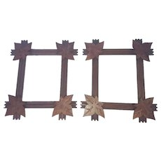 Matching Pair of Early 1900's Criss-Cross Frames with Corner Leaves