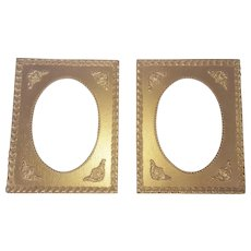 Pair of Vintage Gold Painted Frames with Oval Openings