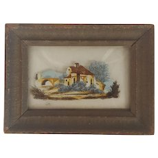 Tiny Vintage Framed  Reverse Printed Rural Scene on Convex Glass